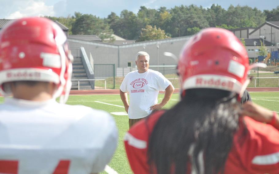 New Kaiserslautern coach Robert Allen surveys his team during a recent practice at Kaiserslautern, Germany.