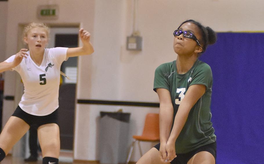 Naples libero Tatiana Manning bumps the ball to a teammate Friday, Sept. 14, 2018, during the Wildcats' 25-27, 25-16, 25-20, 25-13 victory over Kaiserslautern.