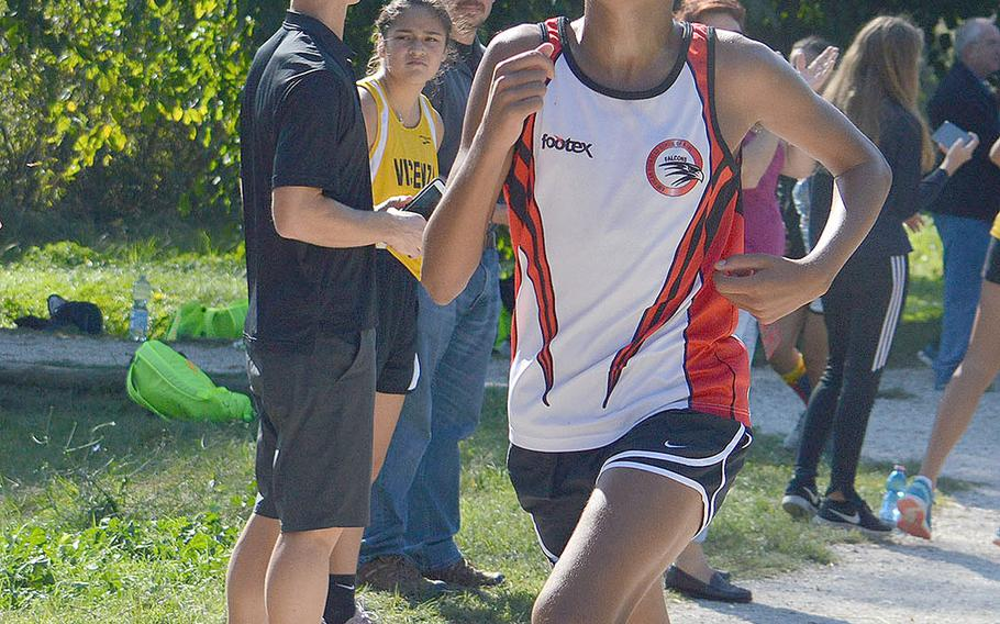 William Davis from American Overseas School of Rome crosses the finish line at a 5-kilometer race that took place at Lago Di Fimon, Vicenza, Italy, Saturday, Sept. 29. He finished in second in a time of 17 minutes and 50 seconds.