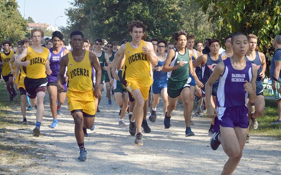 High school boys from seven American high schools in Italy and Bahrain competed in a 5-kilometer race that took place at Lago Di Fimon, Vicenza, Italy, on Saturday, Sept. 29.