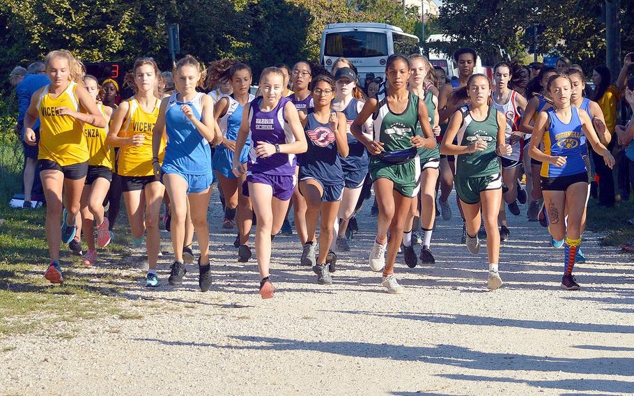 High school girls from seven American high schools from Italy and Bahrain competed in a cross country 5-kilometer race that took place at Lago Di Fimon, Vicenza, Italy, Saturday, Sept. 29.