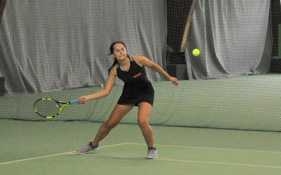 Spangdahlem's Emilia Lenz prepares to hit a volley in a preliminary girls singles match of the 2018 DODEA-Europe tennis tournament Thursday at Vitis Tennis Center in Wiesbaden, Germany. Marymount's Priscilla Ago defeated Lenz 6-2, 6-1.