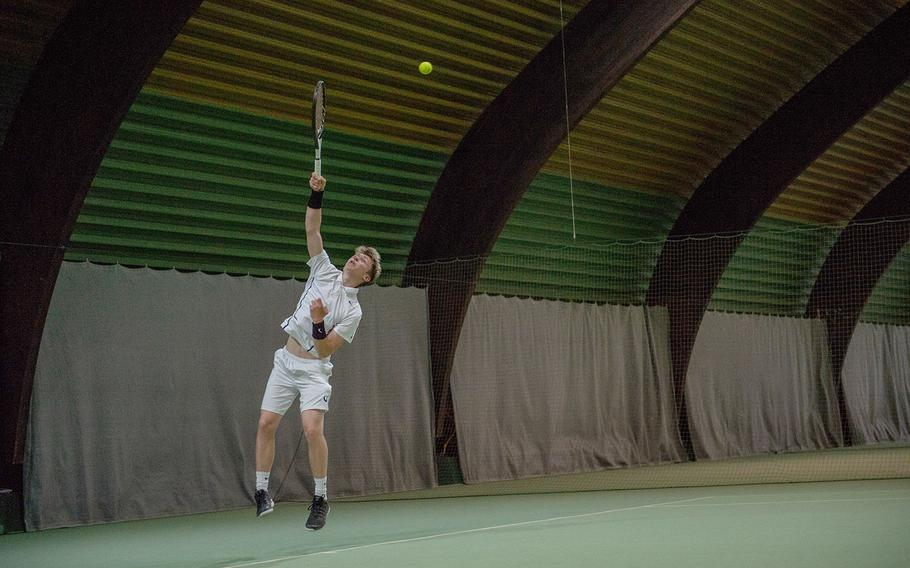 Noah Banken serves during the semifinals of the DODEA-Europe tennis championships in Wiesbaden, Germany, Friday, Oct. 26, 2018.