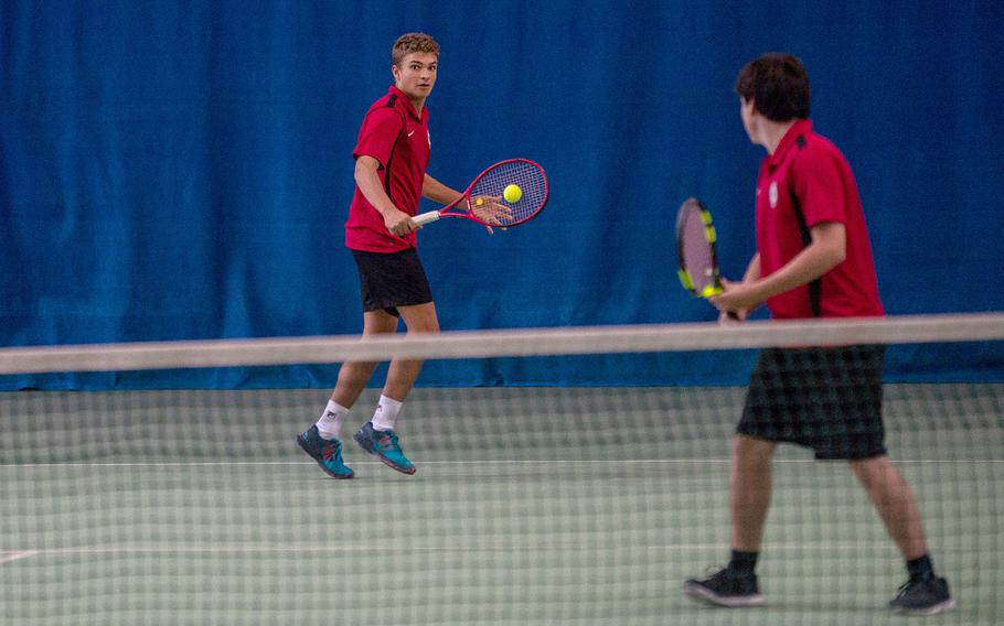 The American Overseas School of Rome doubles team Paul Ranieri and Emanuele Di Paola return a volley during the semifinals of the DODEA-Europe tennis championships in Wiesbaden, Germany, Friday, Oct. 26, 2018.