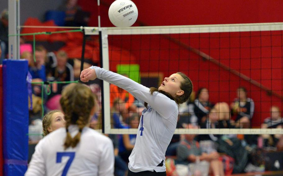 Olivia Friedhoff bumps the ball to a teammate in the Brigands'  17-25, 25-20, 25-22,26-24 victory over Alconbury in a Division III semifinal at the DODEA-Europe volleyball finals in Kaiserslautern, Germany, Friday, Nov. 2, 2018.