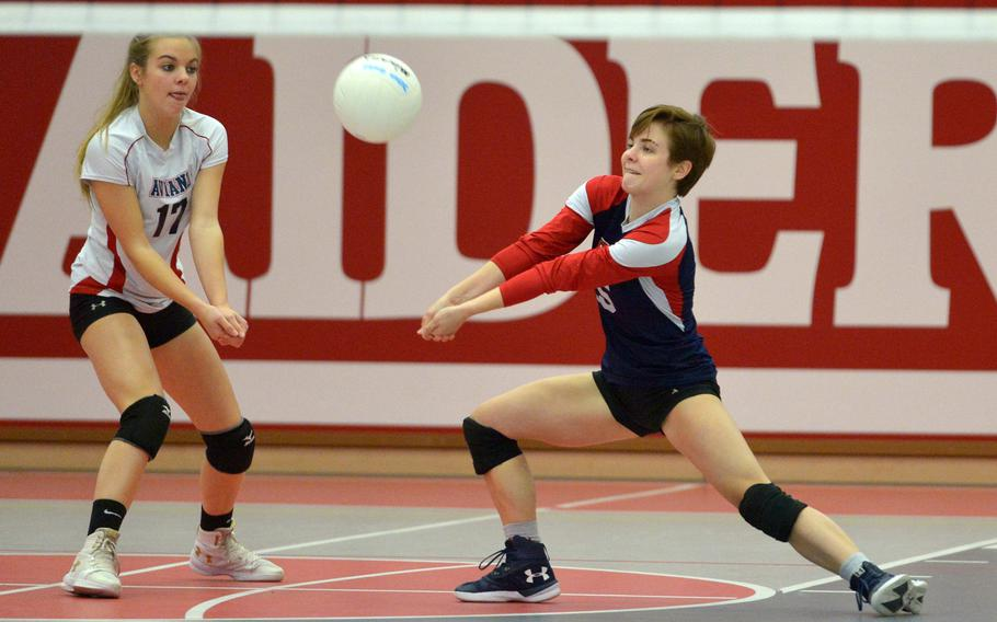 Aviano libero Alison Woodruff receives a Marymount serve as Ashley Woodruff backs her up. Aviano lost a thriller to Marymount in a Division II semifinal at the DODEA-Europe volleyball finals 25-23, 23-25,25-19, 22-15, 15-11.