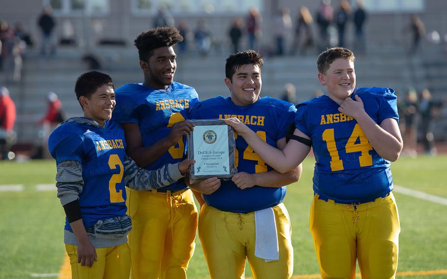 Ansbach is crowned the DODEA-Europe Division III football champions after a game between the Ansbach Cougars and AFNORTH Lions, Saturday, Nov. 3, 2018.