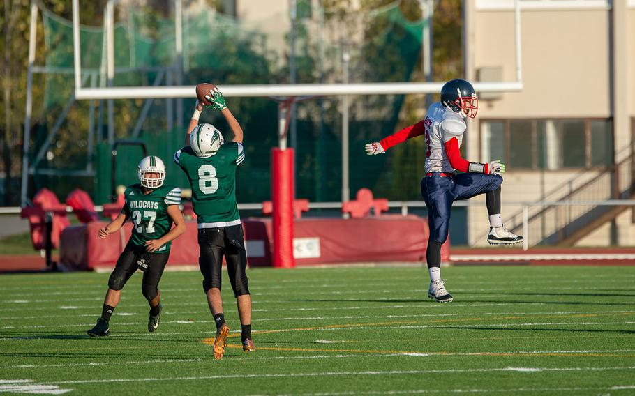 Christian Albright from Naples intercepts a pass during the DODEA-Europe Division II football championship game between the Aviano Saints and the Naples Wildcats, Saturday, Nov. 3, 2018.