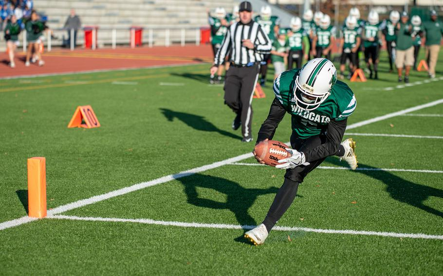 Ashton Jeanty from Naples scores during the DODEA-Europe Division II football championship game between the Aviano Saints and the Naples Wildcats, Saturday, Nov. 3, 2018.