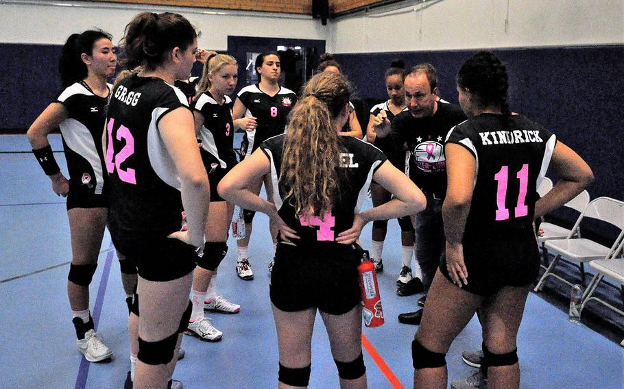 Vicenza coach John Kohut addresses the members of Team Fight in a 2018 DODEA-Europe volleyball all-star match Saturday, Nov. 10, 2018 at Ramstein Air Base, Germany.