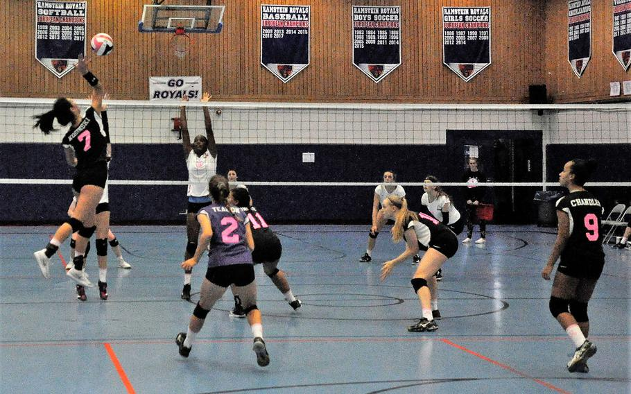Stuttgart hitter Karen Kosinski leaps to deliver a spike in a 2018 DODEA-Europe volleyball all-star match Saturday, Nov. 10, 2018 at Ramstein Air Base, Germany.
