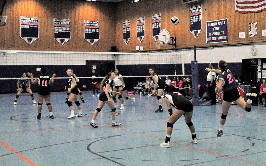 Spangdahlem's Keena Teahon sends a serve over the net in a 2018 DODEA-Europe volleyball all-star match Saturday, Nov. 10, 2018 at Ramstein Air Base, Germany.