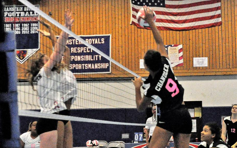 Sigonella hitter Averi Chandler rises up for a spike in a 2018 DODEA-Europe volleyball all-star match Saturday, Nov. 10, 2018 at Ramstein Air Base, Germany.