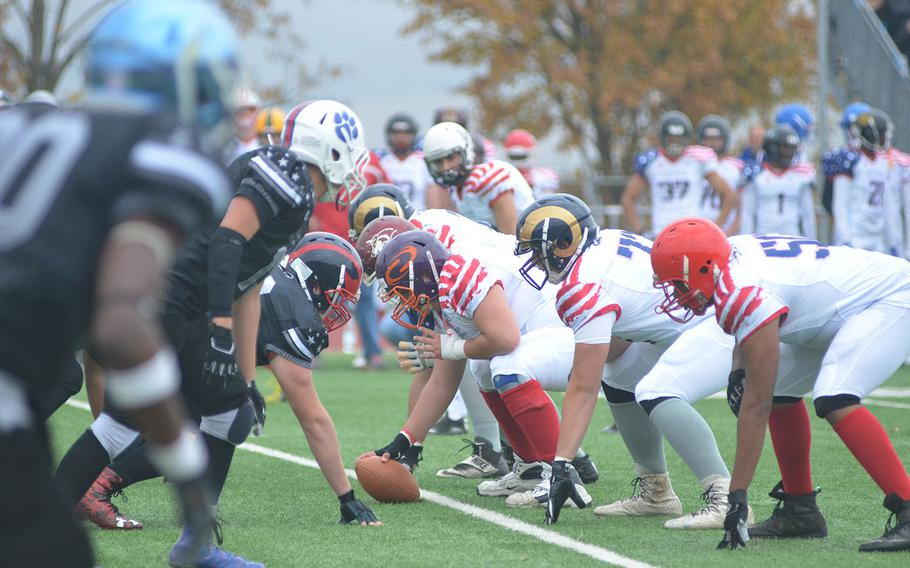 Players on the All-Star East team prepare to snap the ball during the 2018 European All-Star high school football game in Wiesbaden.