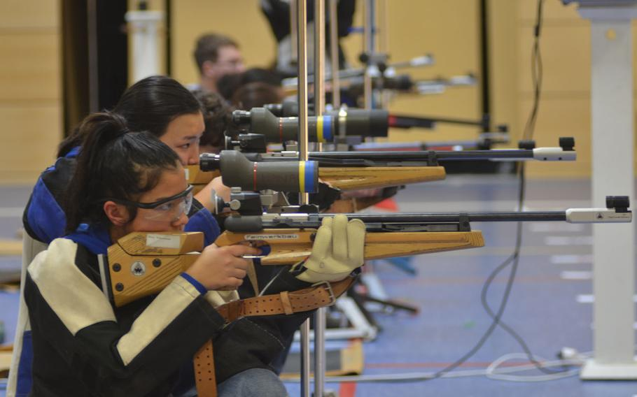 DODEA students participate in a six-team marksmanship event at Wiesbaden's school complex, Saturday, Jan. 12, 2019.. Kaiserslautern took first place with a total score of 1,106.