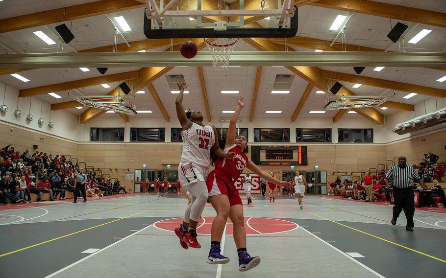 Emanjanae Hawkins goes up for a lay-up during the Kaiserslautern vs Lakenheath girls basketball game at Kaiserslautern High School, Friday, Jan. 18, 2019.  Kaiserslautern won the game 37-17.