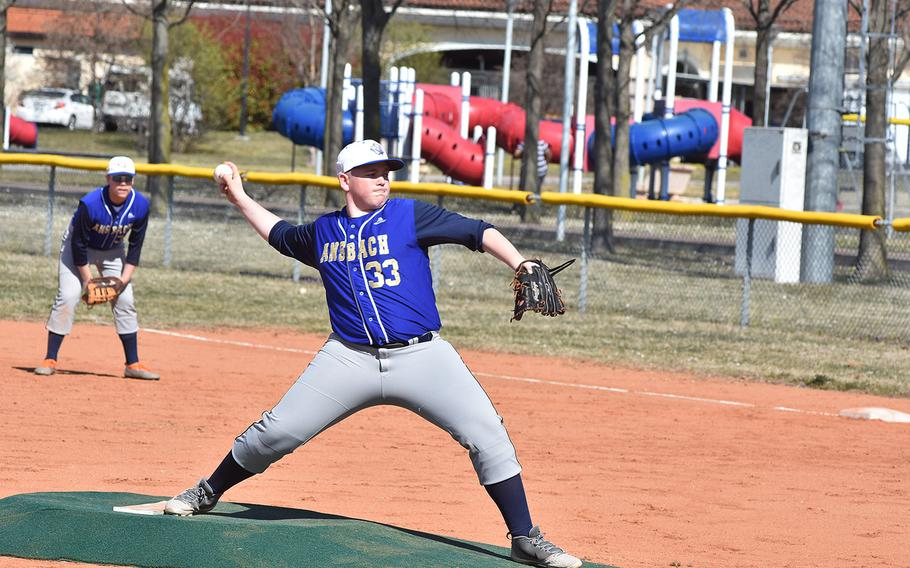 Ansbach's Dustin Martin was a workhorse for the Cougars on Friday, March 29, 2019, pitching in both parts of a doubleheader with Aviano.
