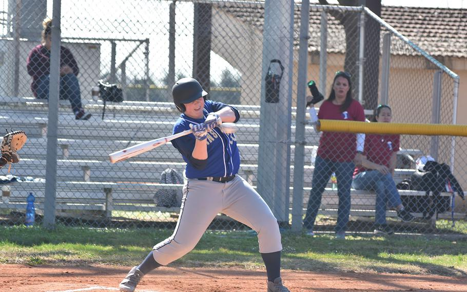 Ansbach's Dustin Martin takes a cut at a pitch on Friday, March 29, 2019, in a doubleheader against Aviano.