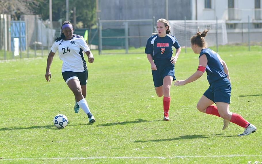 Skye DaSilva-Mathis, a Stuttgart defender, drives toward Aviano's goal during Saturday's game. The Panthers are the current Division I champions and defeated the Saints 7-0.