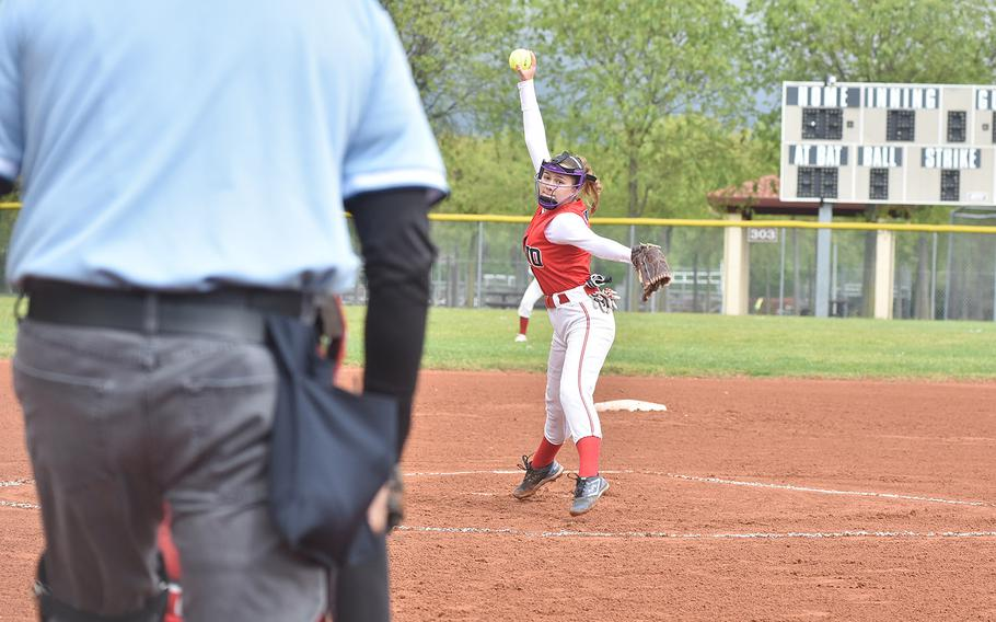 Aviano freshman pitcher Whitney Elam prepares a pitch during a game Saturday, May 4, 2019, against Rota. The Admirals were up 5-3 in the third when the game was halted by rain.