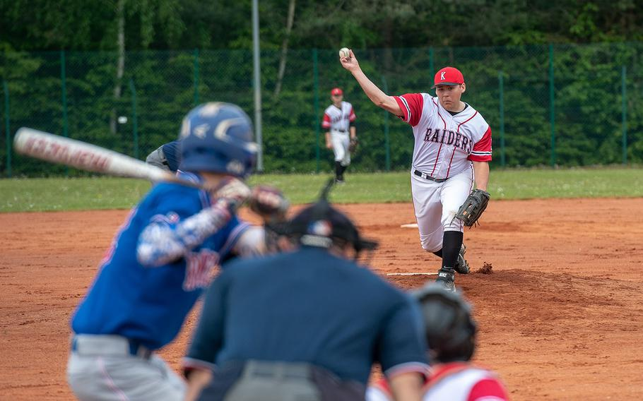 Kaiserslautern's Justice Harper pitches during a game between Kaiserslautern and Ramstein High Schools, Saturday, May 18, 2019, at Kapaun Air Station, Germany.