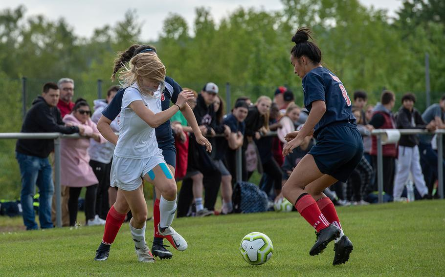 Marymount's Alba Gulino challenges Aviano's Trinity Saenz for the ball during a Division II semifinal game on the third day of the DODEA-Europe soccer championships, Wednesday, May 22, 2019.