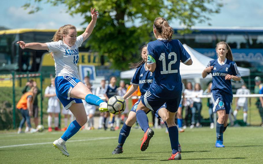 Rota's Nina Furner clears the ball doing a Division II semifinal game against BFA on the third day of the DODEA-Europe soccer championships, Wednesday, May 22, 2019.