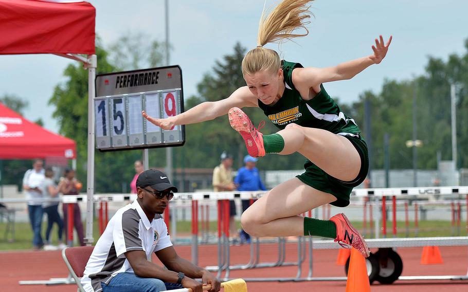 Alconbury's Marrissa Kastler took the gold in the girls long jump at the DODEA-Europe track and field finals with a leap of 16 feet, 11.75 inches. She also finished second in the high jump.