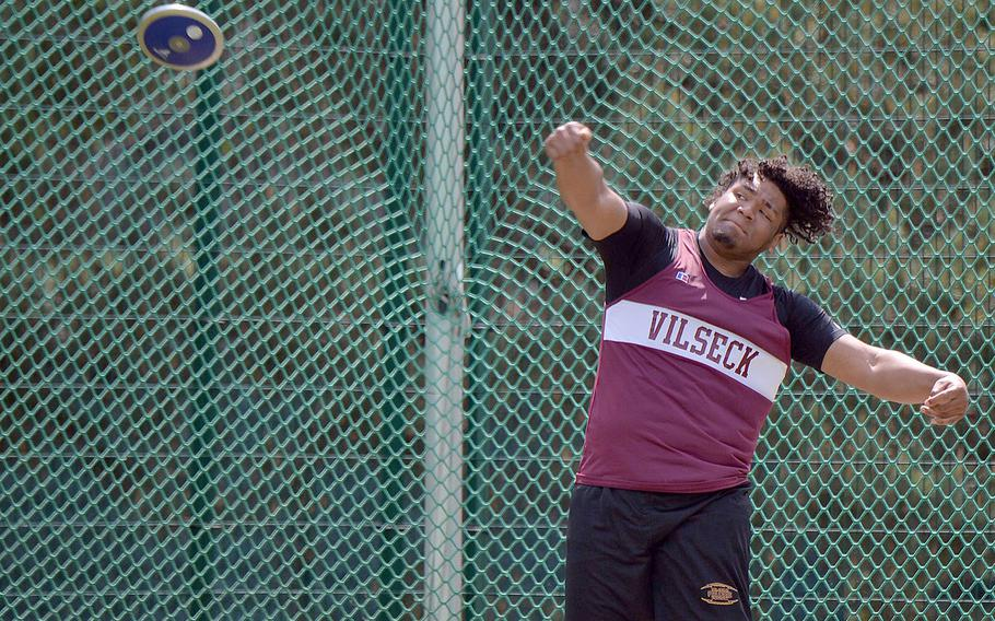 Vilseck's Jonas Matthews took the gold in the discus event at the DODEA-Europe track and field championships with a throw of 144 feet, 1 inch.