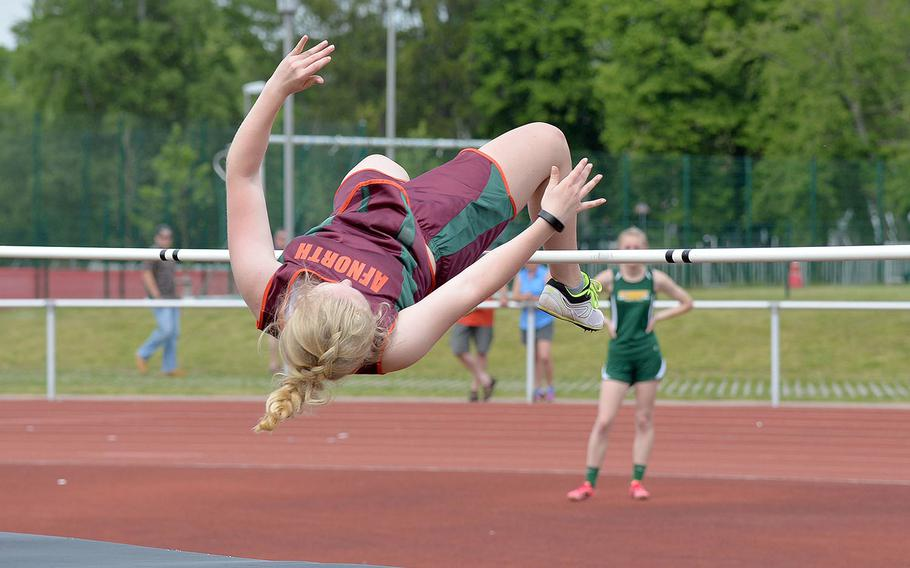 AFNORTH's Victoria Morris won the girls high jump at the DODEA-Europe track and field finals, clearing the bar at 5 feet.