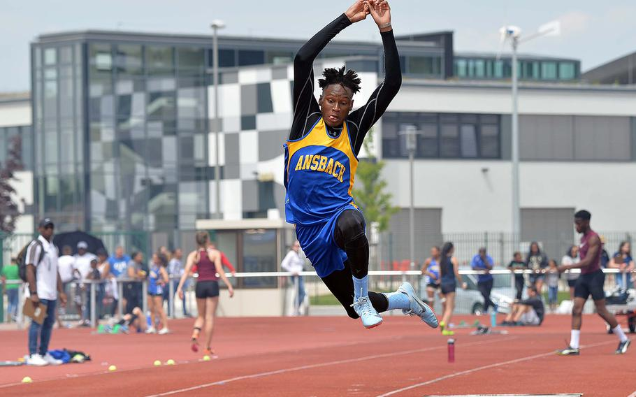 Ansbach' s Matayo Kabuse won the triple jump at the DODEA-Europe track and field championships with a leap of 43 feet, 4.5 inches.