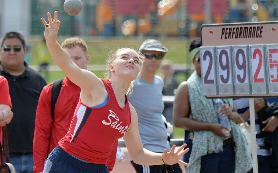 Aviano's Elizebeth Woodruff won the girls shot put completion at the DODEA-Europe track and field finals with a toss of 34 feet, 10 inches.