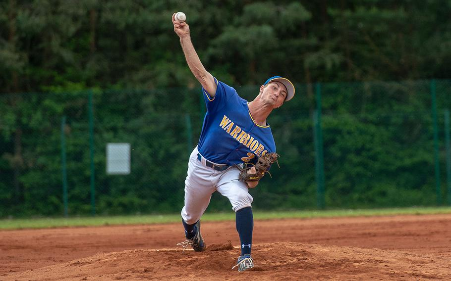 Wiesbaden's Austin Deckinga throws a pitch during a game against Ramstein on Day 2 of the boys Division I DODEA-Europe baseball championships, Friday, May 24, 2019.