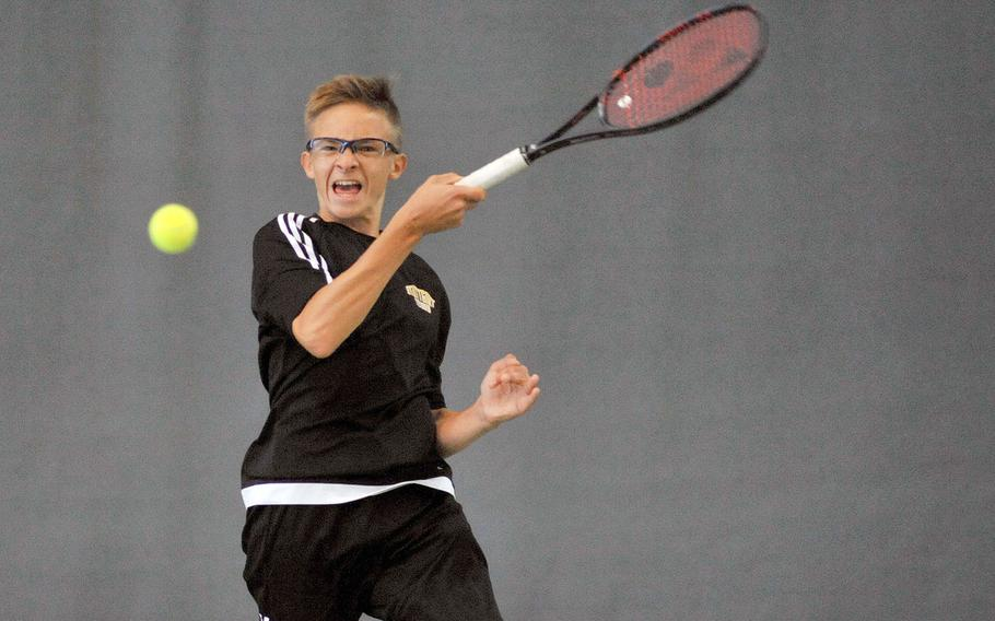Stuttgart's Amar Tahirovic returns a shot in last year's boys final at the DODEA-Europe tennis championships in Wiesbaden, Germany, in October. Tahirovic will be back for the Panthers this season to try to defend his title.