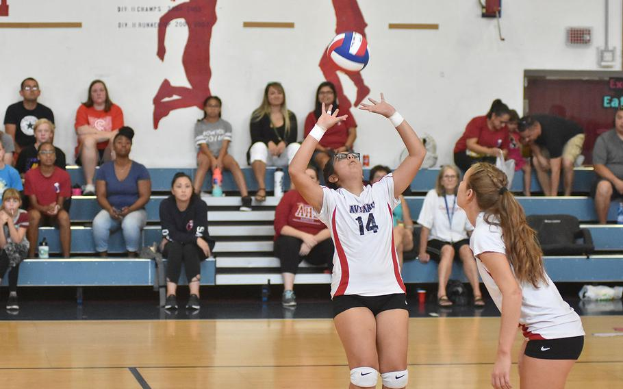 Aviano setter Jasmine Vasquez gets her team's attack started Saturday, Sept. 14, 2019, during a three-set victory over Rota.