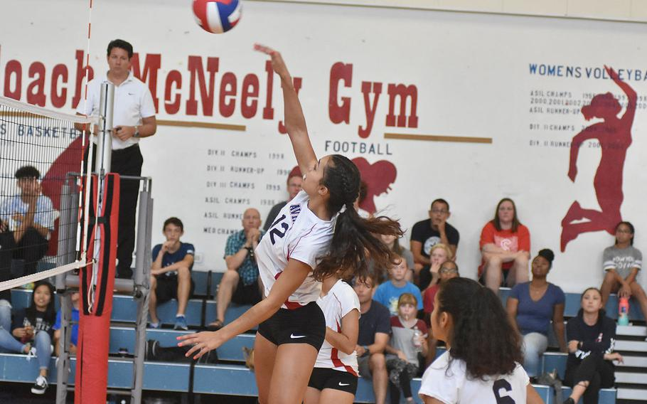 Mikyla Harkley hasn't been an Aviano Saint for very long. But the junior who just transferred in from New Mexico made up for lost time Saturday, Sept. 14, 2019, with a handful of key plays in the Saints' three-set victory over Rota.