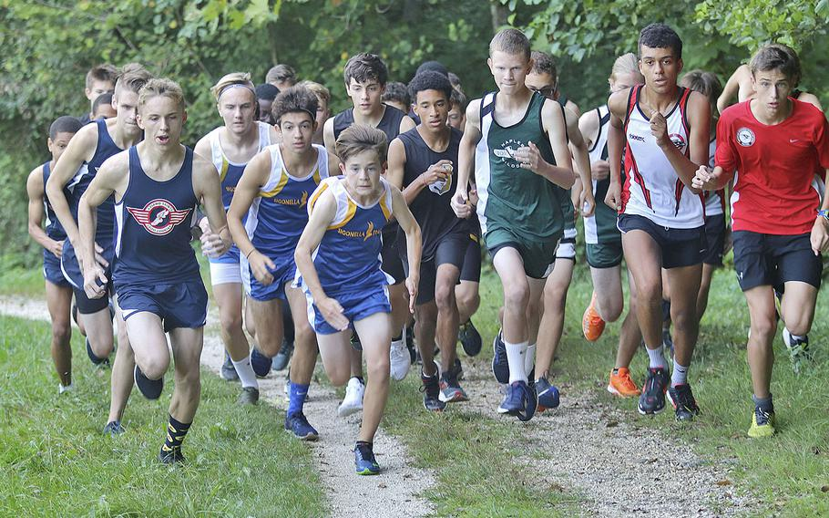 Boys from four Department of Defense Education Activity schools start a cross country race at the San Floriano Parco Rurale's running course in Polcenigo, Saturday, Sept. 14, 2019. In total, 29 runners participated.
