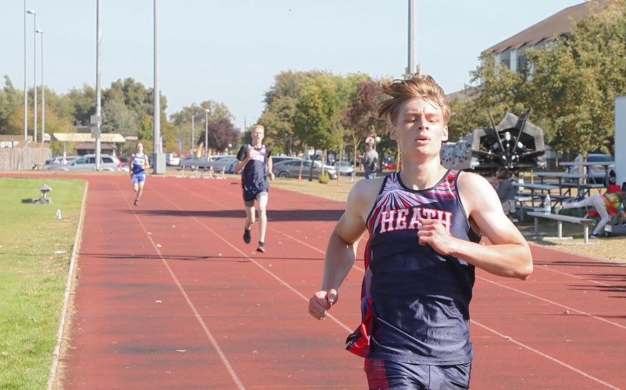 Lakenheath's Sean Marts and Aiden Stamp place second and third with Brussels' Caleb Burnett placing fourth at RAF Lakenheath on Saturday, Sept. 21, 2019.