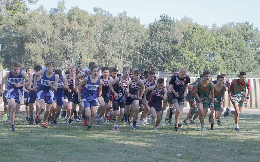 The boys teams from AFNORTH, Brussels and Lakenheath take off from the start line at RAF Lakenheath on Saturday, Sept. 21, 2019.