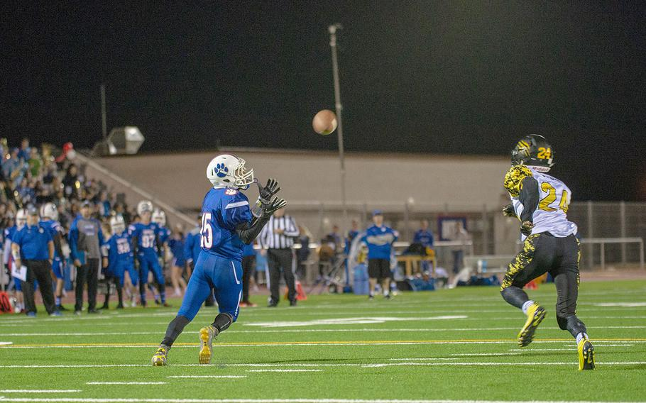 J.J. Little catches a pass during a game between Ramstein and Stuttgart at Ramstein High School, Friday, Sept.  27, 2019. Stuttgart won the game 37-17.