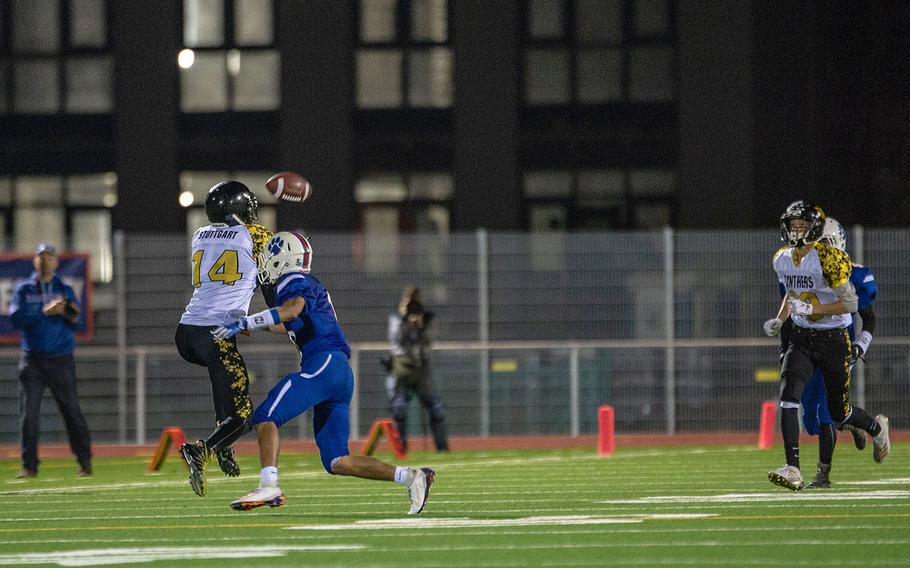 Sabriel Ashley catches a pass during a game between Ramstein and Stuttgart at Ramstein High School, Friday, Sept.  27, 2019. Stuttgart won the game 37-17.
