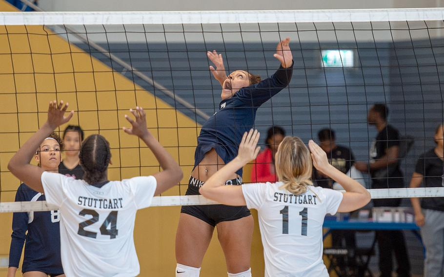 Lakenheath's Shaykyra Hopkins goes up for a spike during a game between Stuttgart and Lakenheath at the South Side Fitness Center, Ramstein Air Base, Germany, Saturday, Sept.  28, 2019.