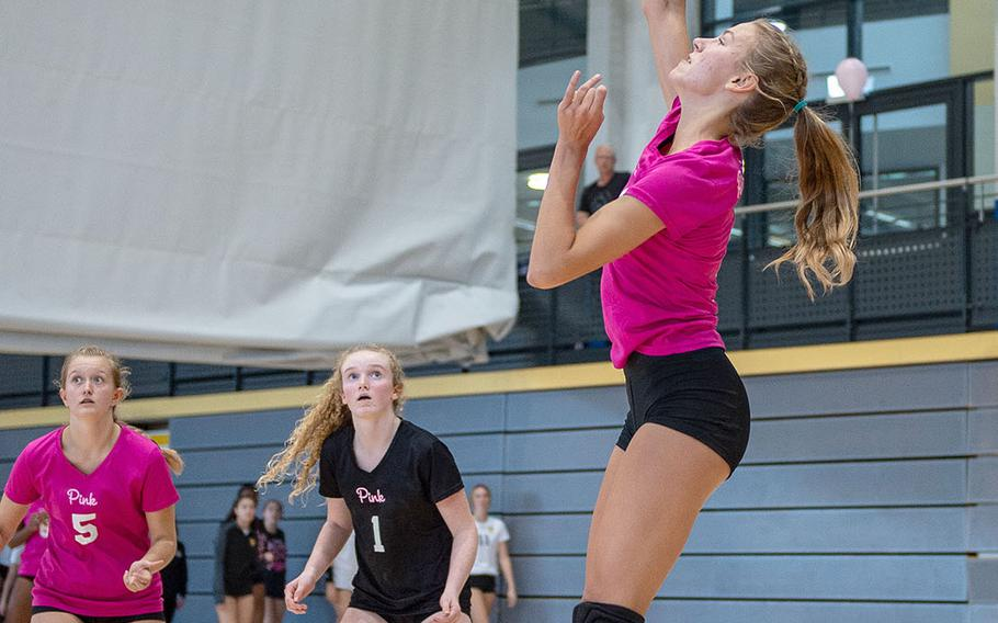 Ramstein's Giselle Stake goes up for a spike during a game between Ramstein and Vilseck at the South Side Fitness Center, Ramstein Air Base, Germany, Saturday, Sept.  28, 2019.