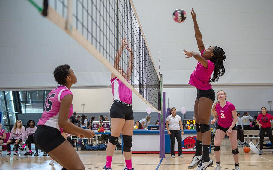 Ramstein's Tamiya Bruce goes up for a spike during a game between Ramstein and Vilseck at the South Side Fitness Center, Ramstein Air Base, Germany, Saturday, Sept.  28, 2019.