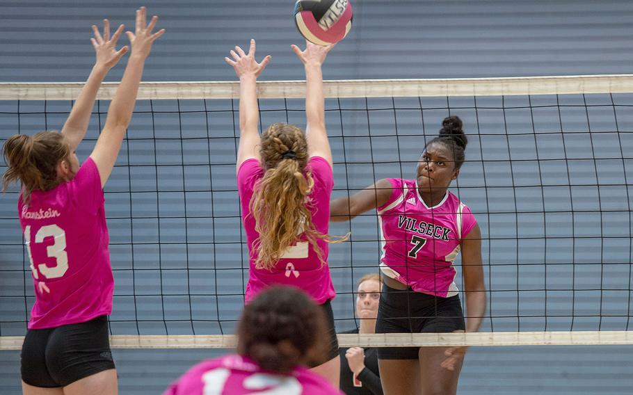 Jahnessa Hill spikes the ball during a game between Ramstein and Vilseck at the South Side Fitness Center, Ramstein Air Base, Germany, Saturday, Sept.  28, 2019.
