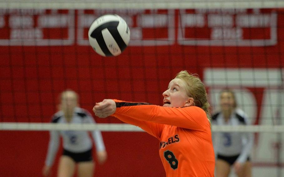 Spangdahlem's Jennifer Oppligner knocks the ball across the net in a Division III semifinal against Brussels at the DODEA-Europe volleyball finals in Kaiserslautern, Friday, Nov. 1, 2019. The Sentinels advanced to Saturday's finals against Sigonella after beating Brussels 25-22, 22-25, 25-19, 21-25, 16-14.