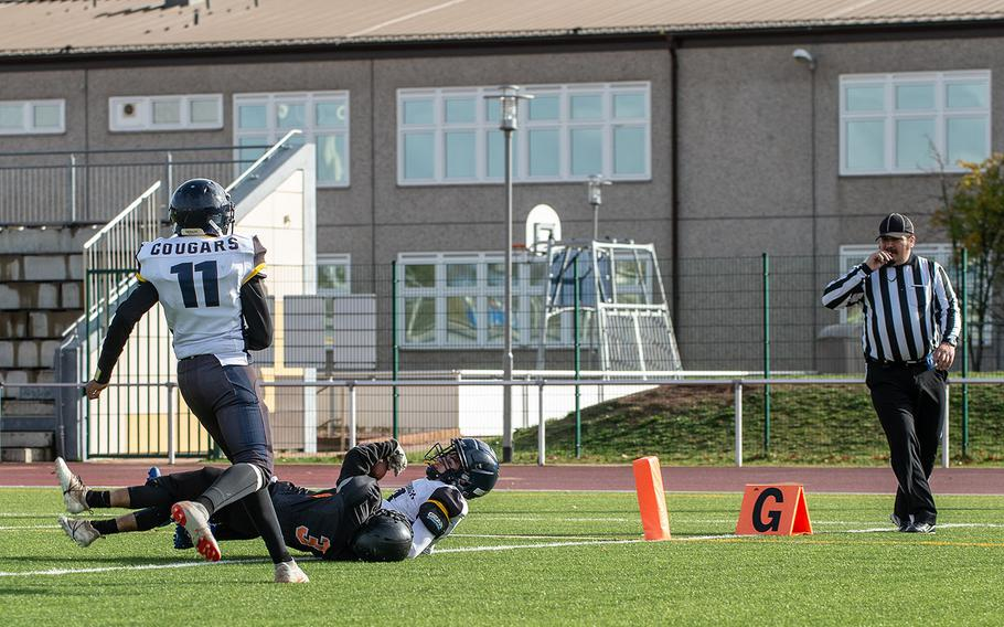 Spangdahlem's Adam Jalomo dives for a touchdown during a game against Ansbach for the Division III Football Championship at Kaiserslautern High School, Germany, Saturday, Nov. 2, 2019. Spangdahlem won the game 39-26.