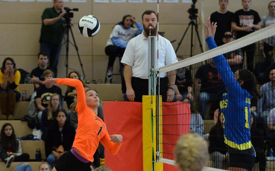Spangdahlem's Kodee Teahon prepares to slam the ball over the net in the final set of the Division III final against Sigonella at the DoDEA-Europe volleyball championships in Kaiserslautern, Germany, Saturday, Nov. 2, 2019. Spangdahlem won 22-25, 25-12, 25-20, 26-24.