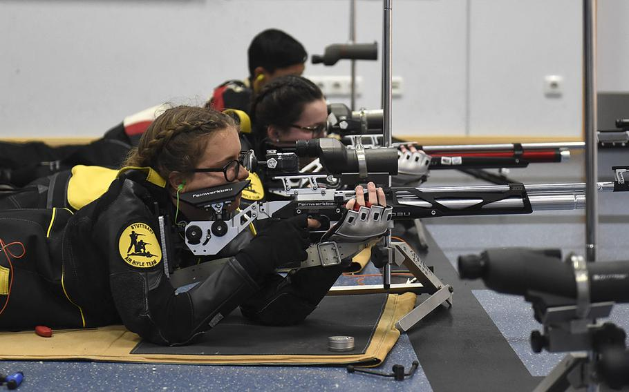 Salome Cook, a sophomore from Stuttgart, shoots downrange during a marksmanship competition held at Vilseck High School, Saturday, Dec. 14, 2019. The competition included competitors from Stuttgart, Hohenfels, Ansbach and Vilseck high schools.