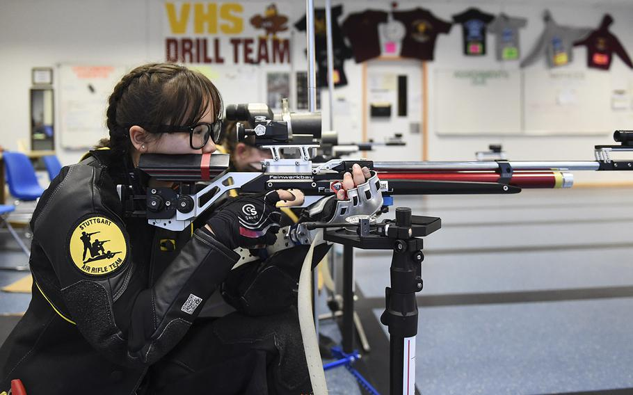 Trinity Lepine, a sophomore from Stuttgart, fires downrange during a marksmanship competition held at Vilseck High School, Saturday Dec. 14, 2019. The competition included competitors from Stuttgart, Hohenfels, Ansbach and Vilseck high schools.